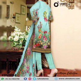3 Piece Unstitched Embroidered Arctic Lawn Suit With Chicken Kaari Dupatta